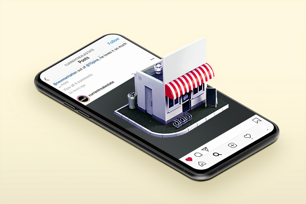 Social media on a mobile with a retail store in 3D