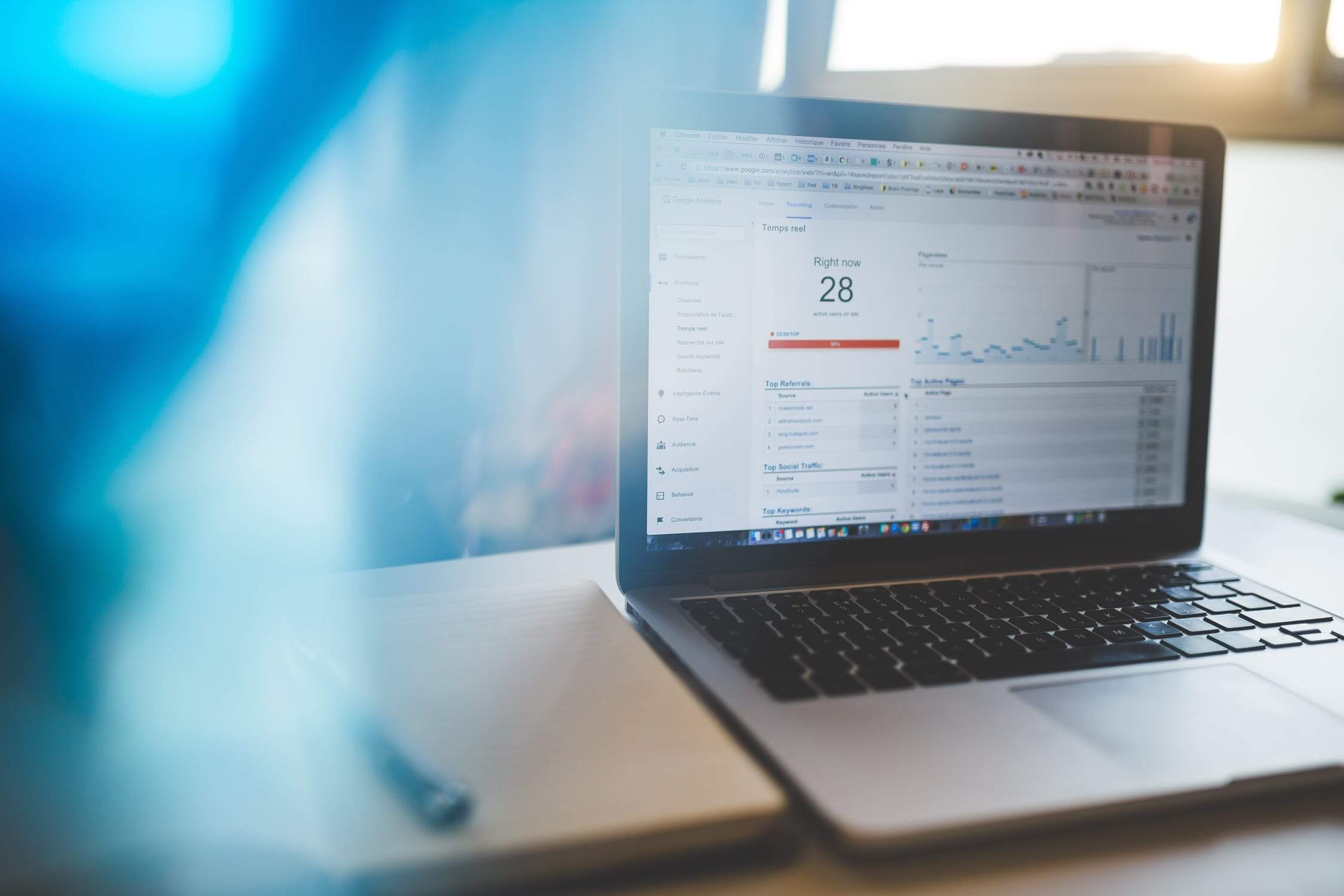 A laptop screen showing Google Analytics